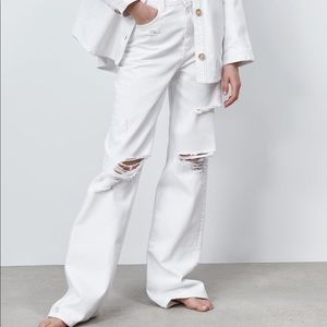 Zara Full Length Ripped Jeans